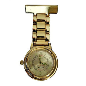 "Pelex""Pulse Time"" Gold with Gold Face Luminous Hands Metal Nurses Doctors Paramedics FOB Watch Brooch Extra Battery"