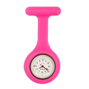 Censi Pink Silicone Nurse FOB Watch Tunic Brooch Date on The Dial Analog Japanese Quartz Movement Extra Battery