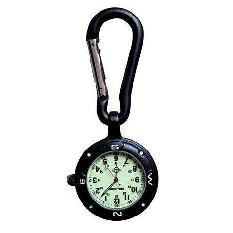 Klox Black Clip On Carabiner Luminous Face FOB Watch for Doctors Nurses Paramedics Chefs Sports