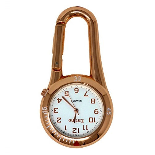 Entino Unisex Pocket FOB Watch Rose Gold Clip on Carabiner White Face with Rose Gold Numbers Doctors Nurses Analog Display Quartz Movement Entino-FOB