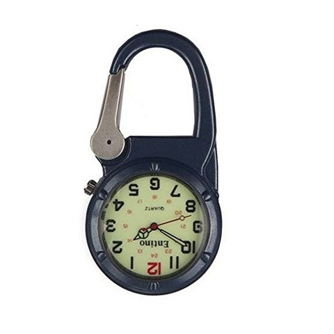 Entino Unisex Pocket FOB Watch Silver Clip on Blue Carabiner Luminous Face Sturdy Doctors Nurses Paramedics Analog Display Quartz Movement Ent-FOB