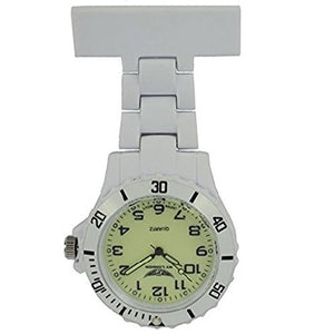 NY London White with Luminous Face Silicone Rubberised Plastic Nurse FOB Watch Brooch Extra Battery