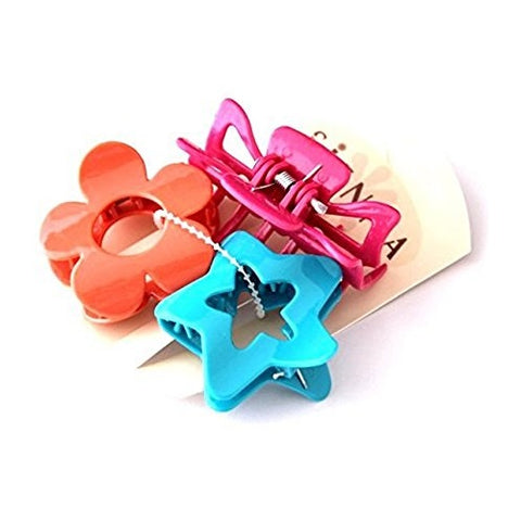 Sienna Set Of 3 Bright Coloured Different Shaped Hair Claw Clips in Pink ,Orange and Blue colour