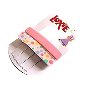 Loxie 2 x Beautiful Pink Plain/Spotty Spring fastening French Hair Clips/Hair slides