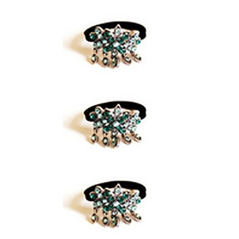 Sienna Set of 3 Turquoise Floral Elastic Bobble Ponytail Hair Band
