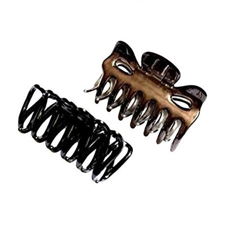 Sienna Set of Black Hair Claw Clip and Brown Butterfly Bull Dog Design Hair Claw Clip