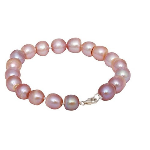 Pink Freshwater Pearl Bracelet for Girls Women's Bangle Length-18cm, Pearl Size 9-10mm with Rhodium Plated Hook & Extension Chain