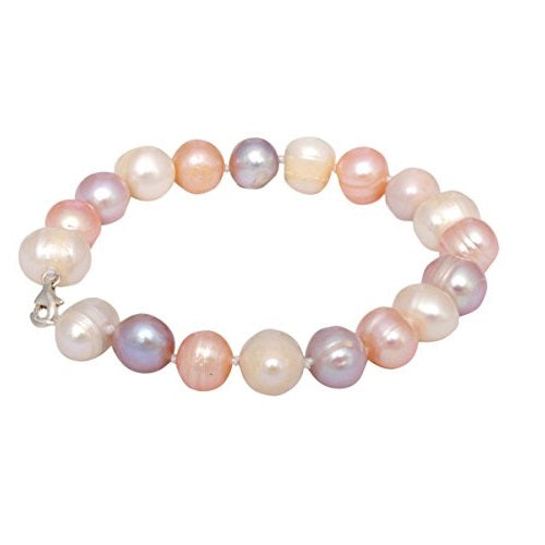 Lavender Pink Peach White Multicoloured Freshwater Pearl Bracelet for Girls Women's Bangle Length-18cm, Pearl Size 9-10mm with Rhodium Plated Hook & Extension Chain