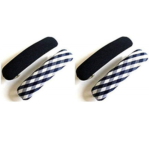 Sienna Set of 4 School Uniform Navy Blue and Check Spring Fastening Hair Barrette French Clips