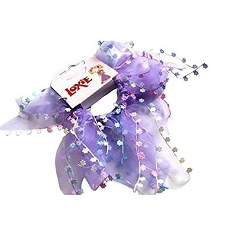 Loxie 2 Beautiful Blue Floral Design Elastic Hair Band/Ponytail/Ponio