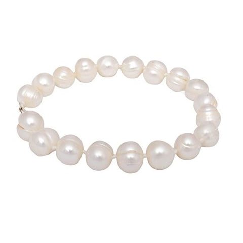 Off White Freshwater Pearl Bracelet for Girls Women's Bangle Length-18cm, Pearl Size 9-10mm with Rhodium Plated Hook & Extension Chain