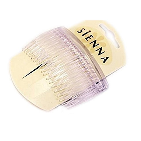 Sienna HAIR COMBS HAIR SLIDES 2x PACK Of White Clear 8.5 CM HAIR COMB