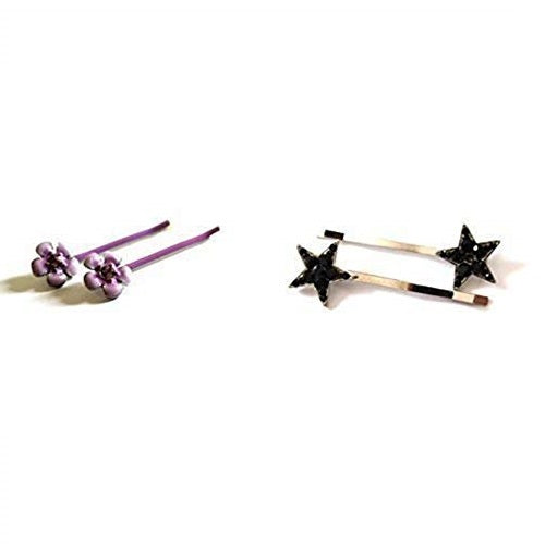 Sienna Set of 4 Hair Slides 2 x Black Star Silver & 2 x Purple Floral Hair Slide/Hair Grip