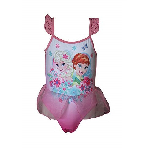 Disney Frozen Elsa Anna Girl's Swimsuit, One Piece Swimming Costume Green and Pink
