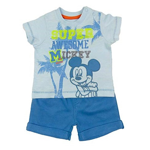 Official Licensed Disney Baby Mickey Mouse Embroidered Shirt & Shorts Set Newborn - 12 Months in Blue