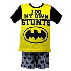 "Officially Certified Batman DC Comics Shirt & Shorts Set for Boys in Yellow & Black "" I DO MY OWN STUNTS"""