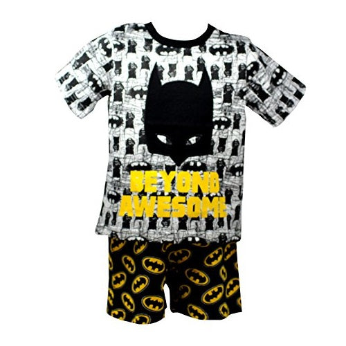 "Officially Certified Batman DC Comics Shirt & Shorts Set for Boys in Yellow & Black ""BEYOND AWESOME"""""