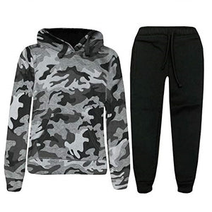 Kids Boys Army Camo Tracksuit Camouflage Contrast Hoodie Pullover Jogging Suit