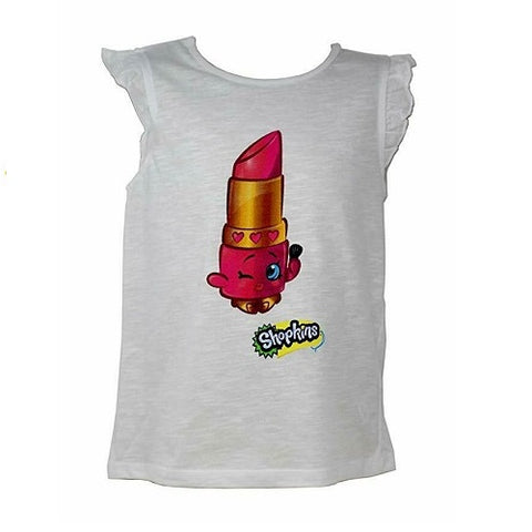 Official Certified Shopkins Ruffled Sleeveless White Cotton Girl's Summer Shirt