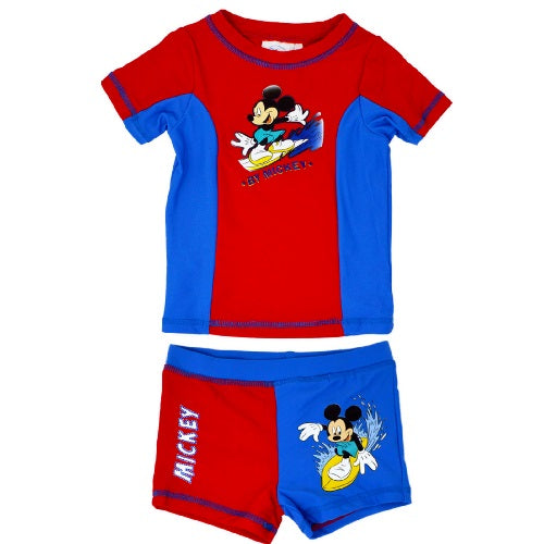 Disney Official Mickey Mouse Boy's Swim Suit / Swimsuit Swimming Beachwear Short Shirt Set