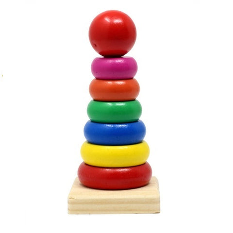 Rainbow Stacking Tower Wooden Ring Educational Toy Colourful Blocks for Toddlers