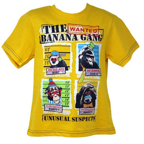 Ex High Street The Banana Gang Monkeys Yellow Half Sleeves T-Shirt Top