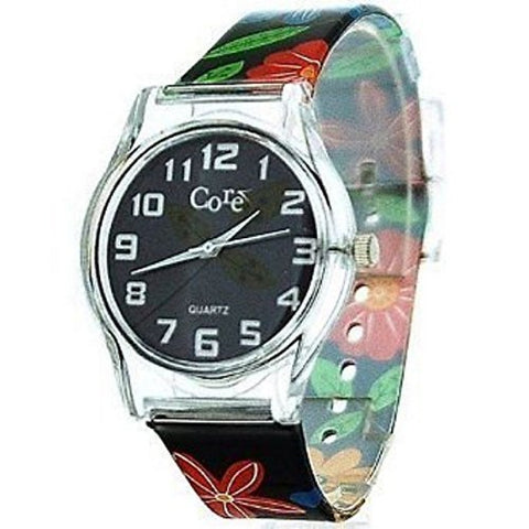 Core Girls Designer Bluey Dial With Blue, Red & Yellow Flower Plastic Wrist Watch With One Extra Battery