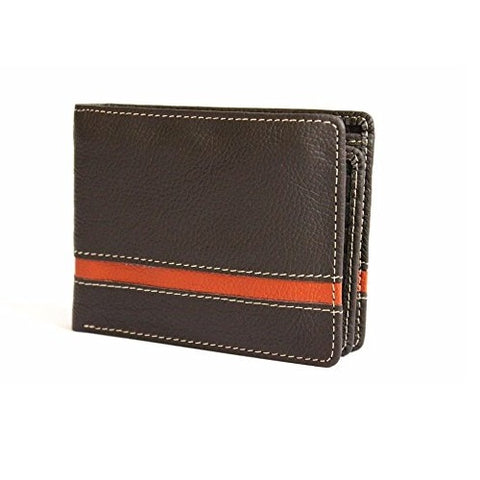 Bullahshah Brown Men's Cowhide Genuine Leather Wallet Soft Top Quality Leather Brown Red Stripe