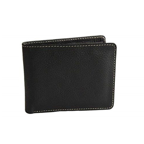 Bullahshah Men's Black Cowhide Leather Wallet Purse