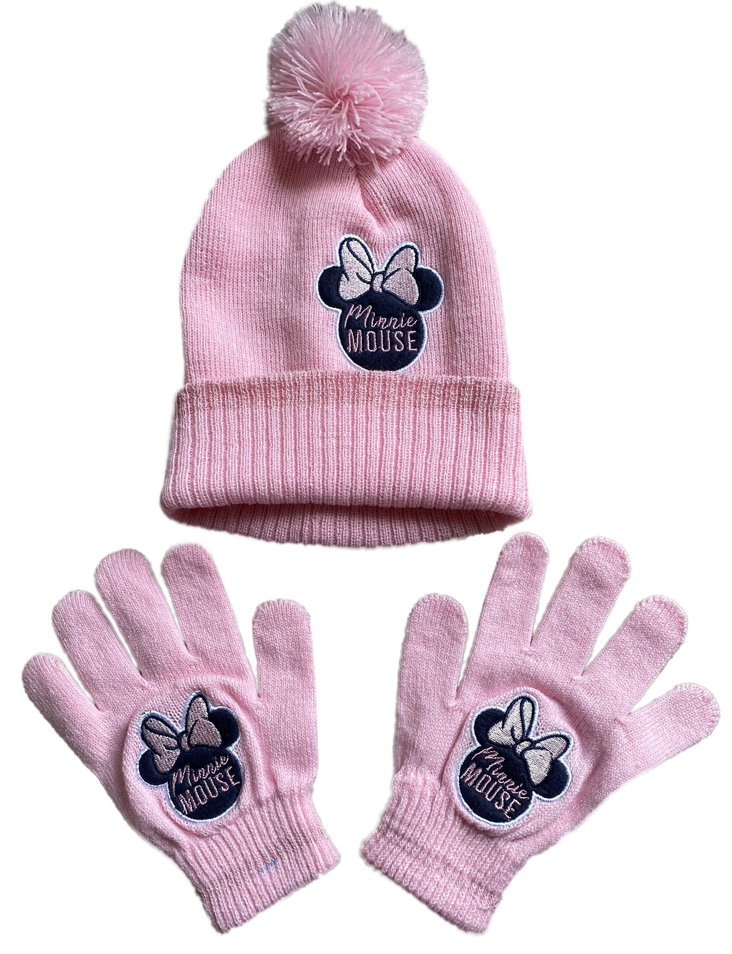 Minnie Mouse Girls Bobble Hat & Gloves Set, Thermal Pom Pom Beanie Hat and Mittens Cold Weather Set