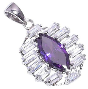 925 Sterling Silver Amethyst Stone Pendant Handmade Necklace with Rhodium Plated Chain for Women NLG-1004
