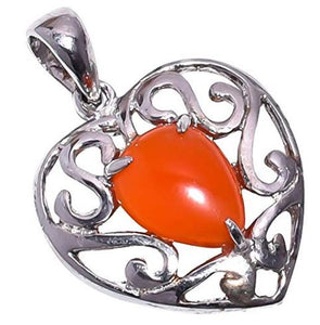 925 Sterling Silver Red Carnelian Stone Pendant Handmade Necklace with Rhodium Plated Chain for Women NLG-1006