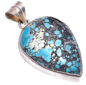 Ethnic Style Sterling Silver Overlay Reconstituted Tibetan Turquoise Teardrop Shaped Stone Pendant, Natural Stone Handmade Necklace for Women with Rhodium Plated Chain NLG-1011