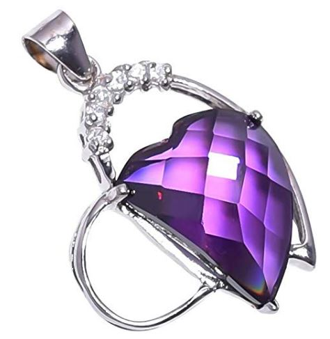 925 Sterling Silver Amethyst Stone Pendant Handmade Necklace Rhodium Plated Chain for Women NLG-1054