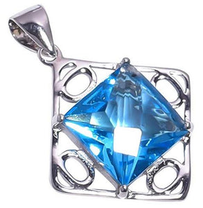 925 Sterling Silver Blue Crystal Pendant Handmade Necklace Rhodium Plated Chain for Women NLG-1055