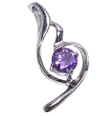 925 Sterling Silver Handmade Amethyst Pendant Necklace Rhodium Plated Chain for Women NLG-1058