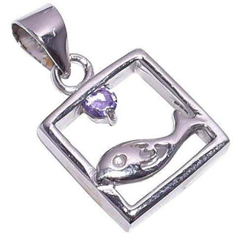 925 Sterling Silver Handmade Amethyst Stone Pendant Necklace Pendant Rhodium Plated Chain for Women NLG-1069