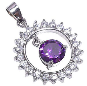 925 Sterling Silver Handmade Amethyst Stone Pendant Necklace Rhodium Plated Chain for Women NLG-1073