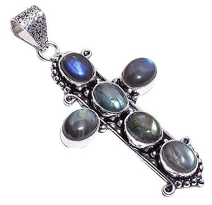 Sterling Silver Overlay Handmade Labradorite Cross Pendant Necklace Pendant Rhodium Plated Chain for Women NLG-1096