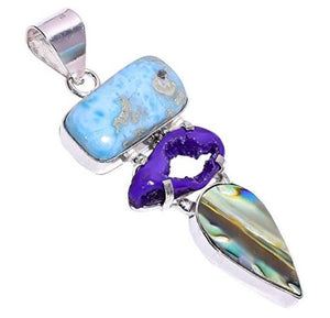 Bullahshah Women Sterling Silver Overlay Tumbled Purple Botswana Agate Druzy & Abalone Shell Larimar Stone 2.8 Inches Necklace Pendant Handmade Rhodium Plated Chain NLG-1186