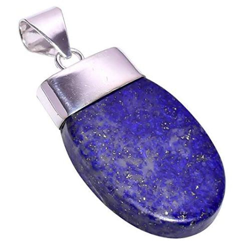 Bullahshah Women Sterling Silver Overlay Half Oval Lapis Lazuli Stone 2.4 Inches Necklace Pendant Handmade Rhodium Plated Chain NLG-1192