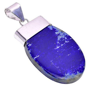 Bullahshah Women Sterling Silver Overlay Oval Lapis Lazuli Stone 2.6 Inches Necklace Pendant Handmade Rhodium Plated Chain NLG-1215
