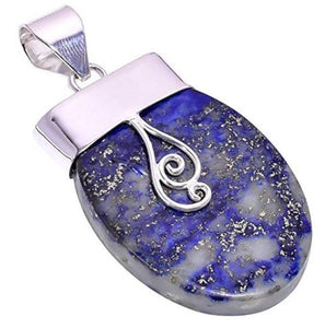 Bullahshah Women Sterling Silver Overlay Half Oval Lapis Lazuli Stone 2.5 Inches Necklace Pendant Handmade Rhodium Plated Chain NLG-1242