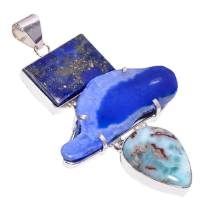 Bullahshah Women Sterling Silver Overlay Solar Quartz, Lapis Lazuli & Larimar Stone Pendant Necklace Handmade with Rhodium Plated Chain NLG-1500