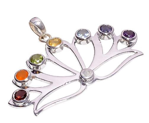 Bullahshah Women Sterling Silver Citrine, Amethyst & Carnelian Stone Chakra Pendant Ethnic Style Necklace Handmade 1.4 Inches with Rhodium Plated Chain NLG-1501