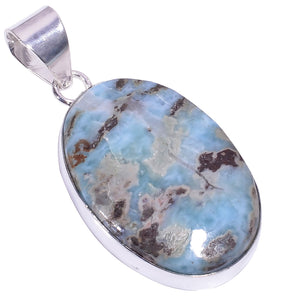 Ethnic Style Sterling Silver Overlay Larimar Gemstone Pendant, Natural Stone Handmade Necklace for Women with Rhodium Plated Chain, NLG-1590