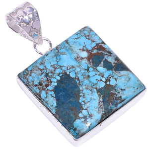 Ethnic Style Sterling Silver Overlay Tibetan Turquoise Gemstone Pendant, Natural Stone Handmade Necklace for Women with Rhodium Plated Chain, NLG-1595