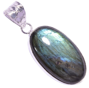 Ethnic Style Sterling Silver Overlay Labradorite Gemstone Pendant, Natural Stone Handmade Necklace for Women with Rhodium Plated Chain, NLG-1607
