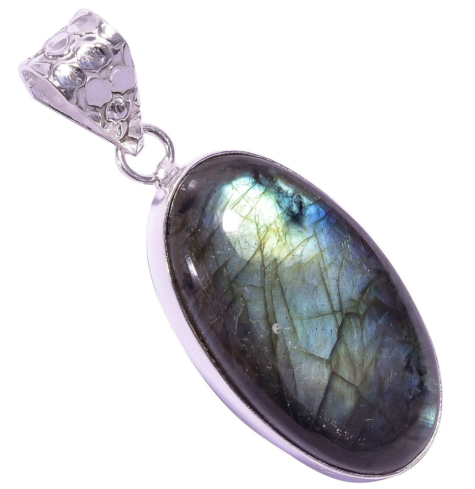 Ethnic Style Sterling Silver Overlay Labradorite Gemstone Pendant, Natural Stone Handmade Necklace for Women with Rhodium Plated Chain, NLG-1609
