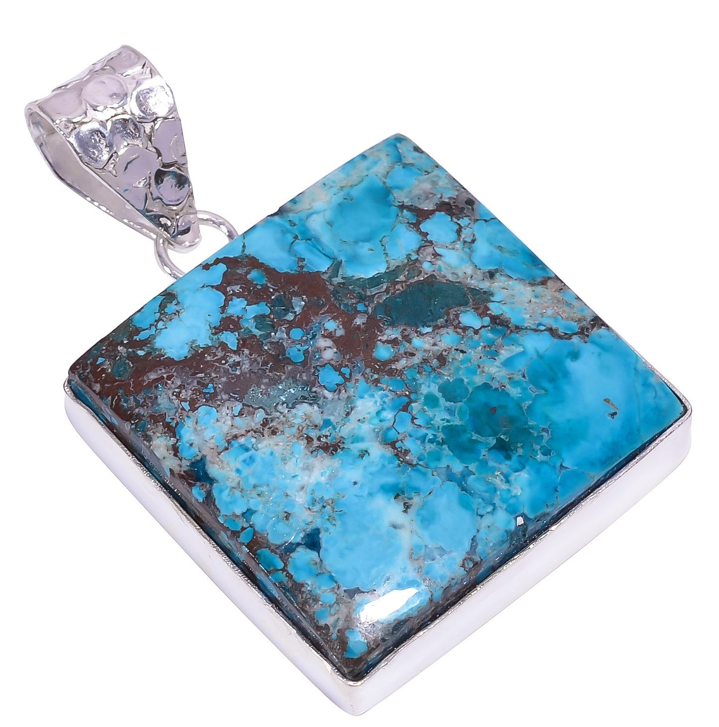 Bullahshah Ethnic Style Sterling Silver Overlay Square Shaped Tibetan Turquoise Gemstone Pendant, Natural Stone Handmade Necklace for Women with Rhodium Plated Chain, NLG-1613